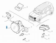 Scheinwerfer vorne, oben, rechts für Jeep Renegade
