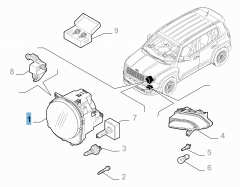 Scheinwerfer vorne, oben, links für Jeep Renegade