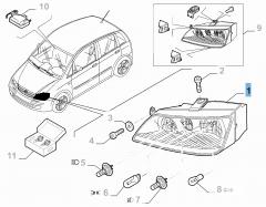 Scheinwerfer vorne rechts komplett mit Nebelscheinwerfer für Fiat und Fiat Professional