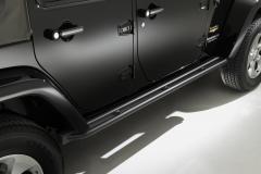 Schwarze Klapptritte, seitliche Trittbretter unterhalb der Tür für Jeep Wrangler