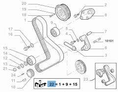 Steuerriemen-Set (Riemen, fester und einstellbarer Riemenspanner) - 3 Teile für Fiat Professional Ducato