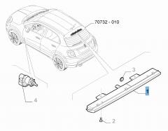 Rückleuchte (drittes Bremslicht) an Ersatzradhalterung für Fiat 500X