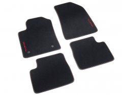 Velours-Fußmatten mit roter Stickerei, Linkslenkung
