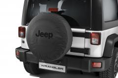 Ersatzradabdeckung mit schwarzem Jeep-Logo.