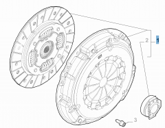 Kupplungssatz (Kupplungsscheibe, -druckplatte und Ausrücklager) für Fiat und Fiat Professional