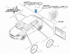 Schriftzug Modell Bravo hinten für Fiat Bravo
