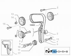 Steuerriemen-Set (Riemen, fester und einstellbarer Riemenspanner) - 3 Teile