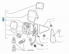 Elektrischer linker Außenspiegel für Fiat Professional Scudo