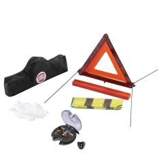 Notfall-Set mit Mini-Warndreieck, Handschuhen, Warnweste und Birnen-Satz