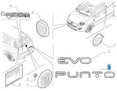 Schriftzug Modell Punto hinten für Fiat Punto Evo