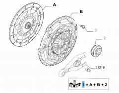 Kupplungssatz (Kupplungsscheibe, -druckplatte und Ausrücklager) für Fiat Professional Scudo