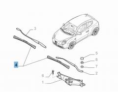 Set mit 2 Wischerblättern für die Frontscheibe für Alfa Romeo Mito
