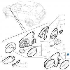 Rechter Außenspiegel für Alfa Romeo 147