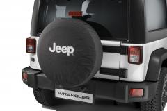 Ersatzradabdeckung mit weißem Jeep-Logo.