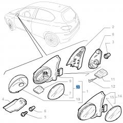 Rechter elektrischer Außenspiegel für Alfa Romeo 147