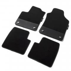 Satz 595 Velours-Fußmatten mit Einsatz aus schwarzem Leder