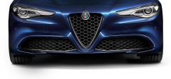 """Frontgrill mit """"V""""-Einsatz aus Carbon für die Modelle Super und Giulia"""